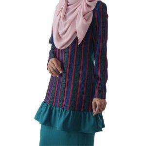 Fesyen Rasa Sayang, baju kurung moden, Rosmana Kurung Set Pine Green Color Close
