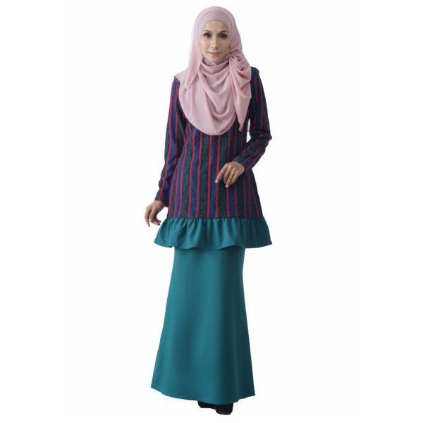 Fesyen Rasa Sayang, baju kurung moden, Rosmana Kurung Set Pine Green Color Front