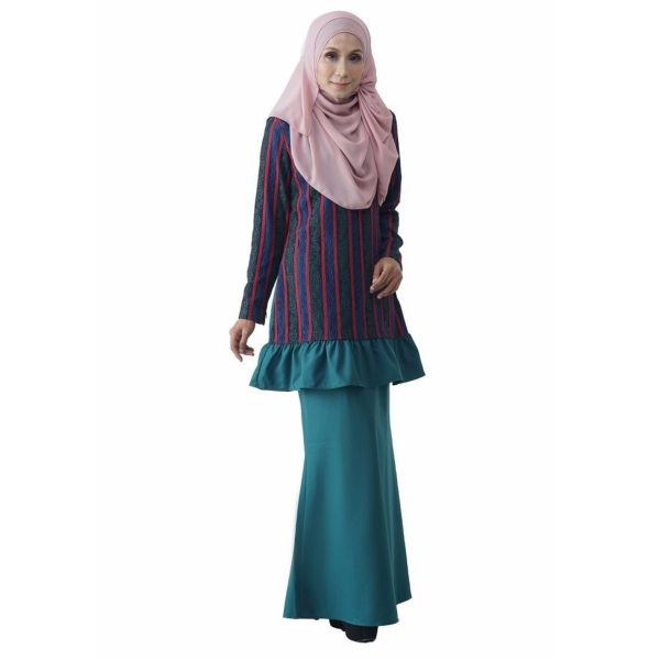 Fesyen Rasa Sayang, baju kurung moden, Rosmana Kurung Set Pine Green Color Front 2