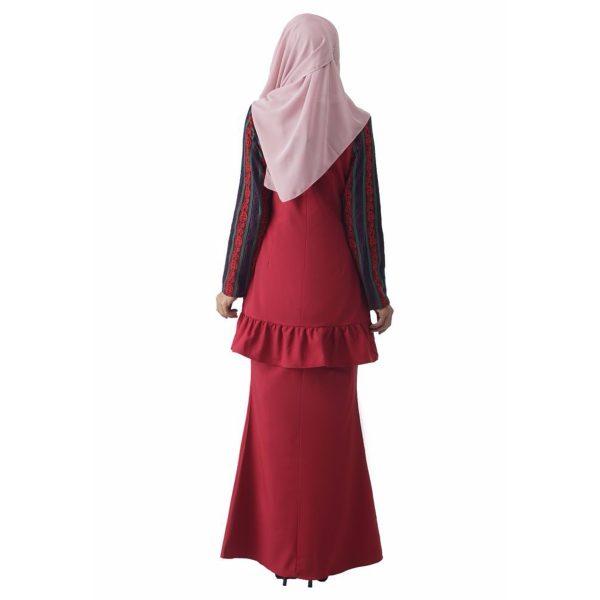 Fesyen Rasa Sayang, baju kurung moden, Rosmana Kurung Set Rose Red Color Back