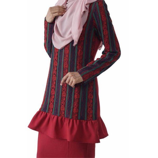 Fesyen Rasa Sayang, baju kurung moden, Rosmana Kurung Set Rose Red Color Close