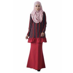 Fesyen Rasa Sayang, baju kurung moden, Rosmana Kurung Set Rose Red Color Front