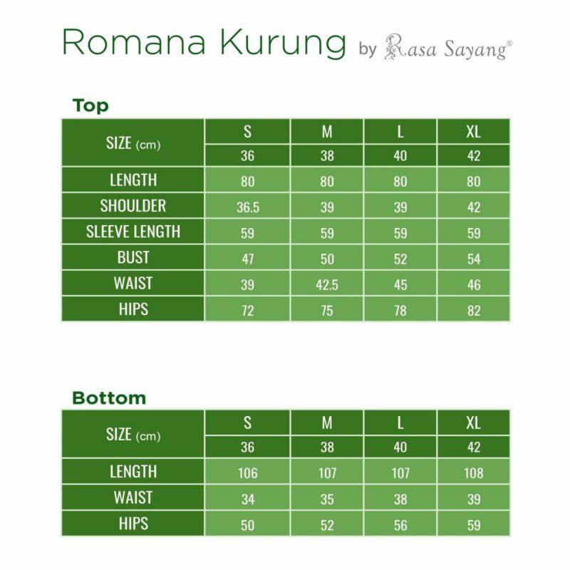 Rosmana Kurung Set Size Chart