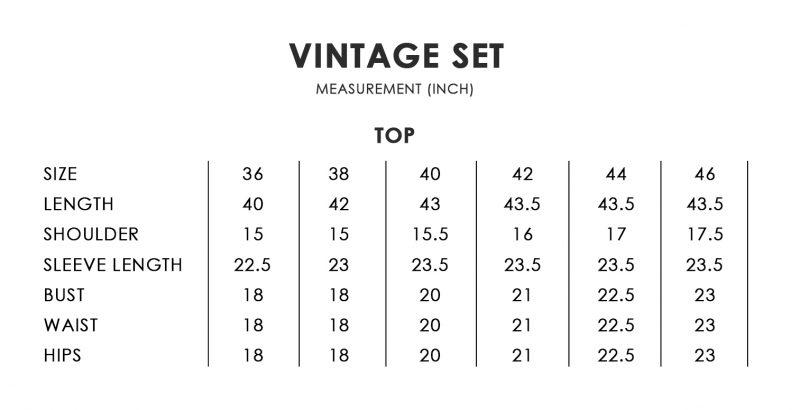 Vintage Size Chart