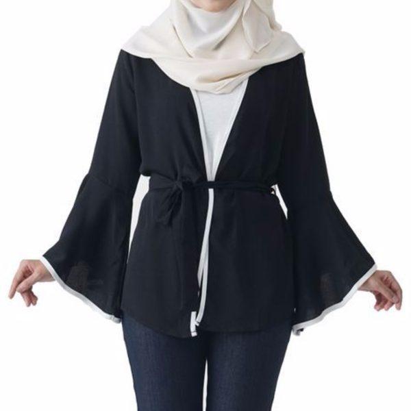 Jelita Kimono Cardigan Black Color Front