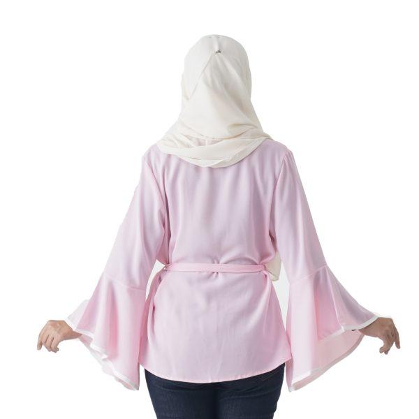Jelita Kimono Cardigan Pink Color Back