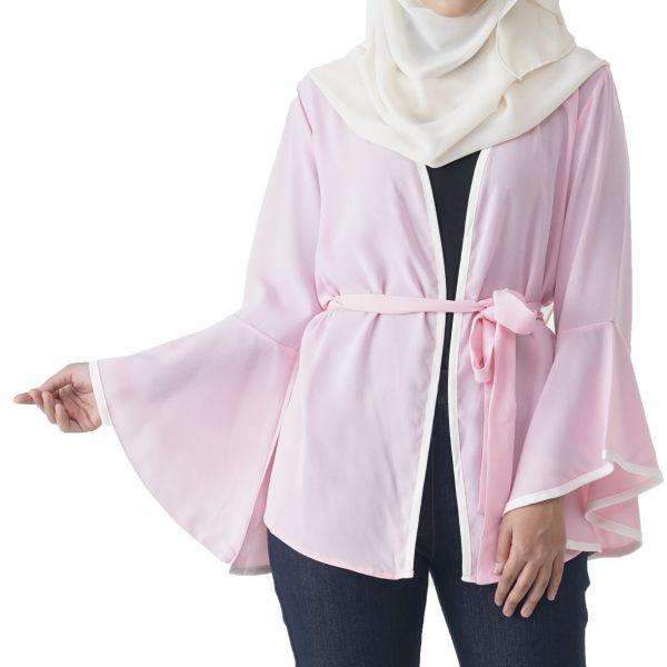 Jelita Kimono Cardigan Pink Color Front