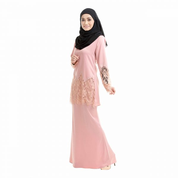 Aimi Kurung Salmon Peach Left Side