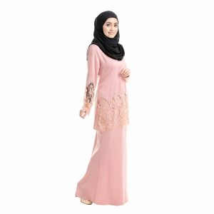 Aimi Kurung Salmon Peach Right Side