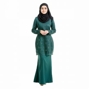 Brenda Kurung Emerald Green Front