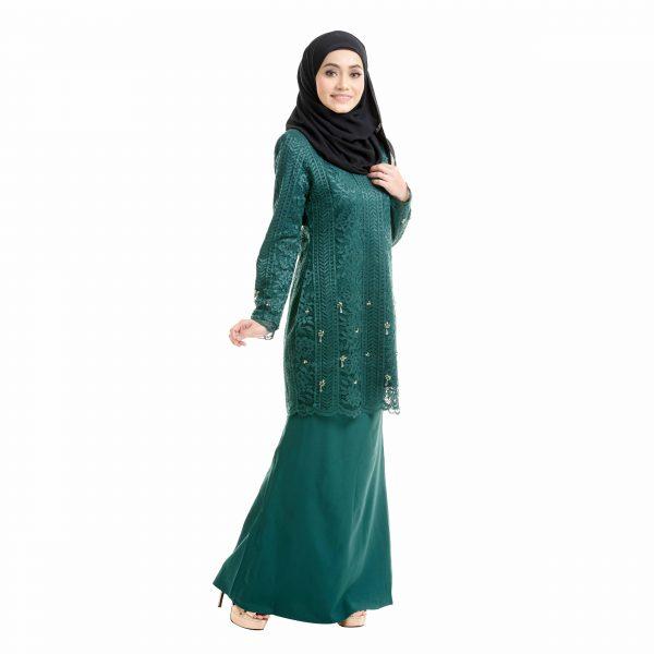Brenda Kurung Emerald Green Right Side