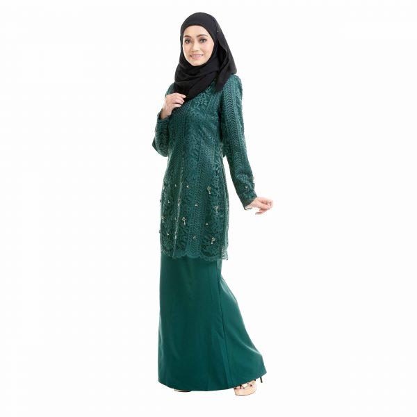 Brenda Kurung Emerald Green Left Side