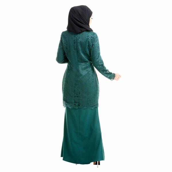 Brenda Kurung Emerald Green Back