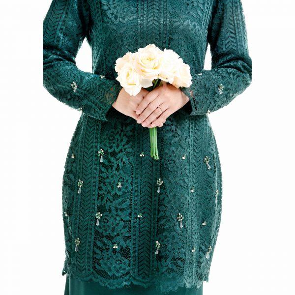 Brenda Kurung Emerald Green With Flower