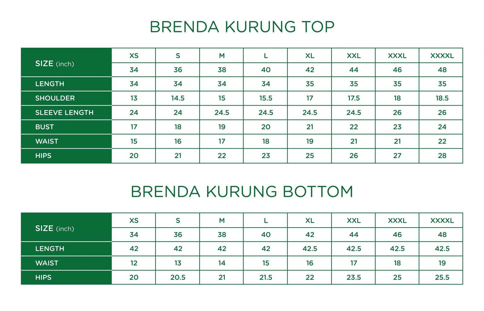 Brenda Kurung Size Chart