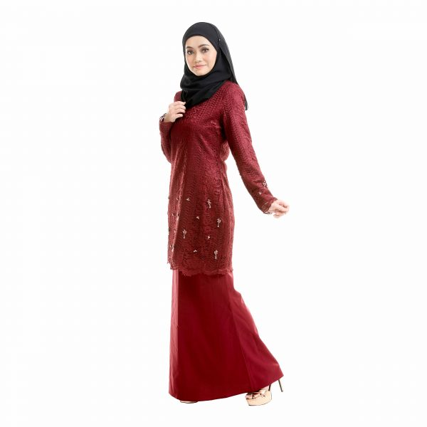 Brenda Kurung Love Maroon Left Side