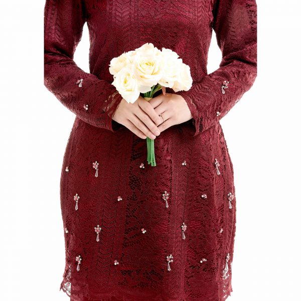 Brenda Kurung Love Maroon With Flower