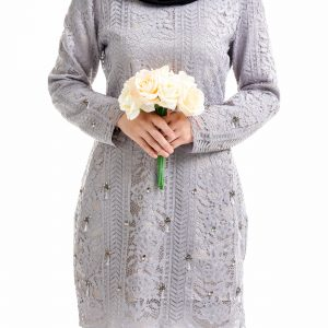 Brenda Kurung Grey With Flower