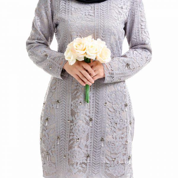 Brenda Kurung Grey With Flower
