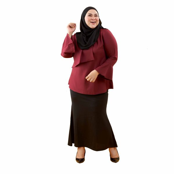 Dawish Blouse Jam Maroon Color Front Dancing