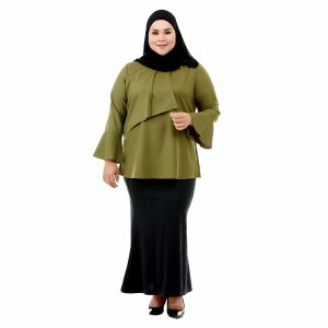 Dawish Blouse Moss Green Color Front