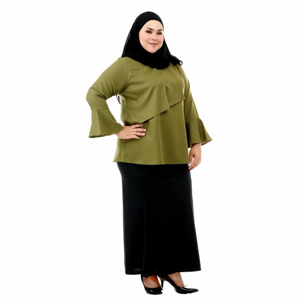Dawish Blouse Moss Green Color Side
