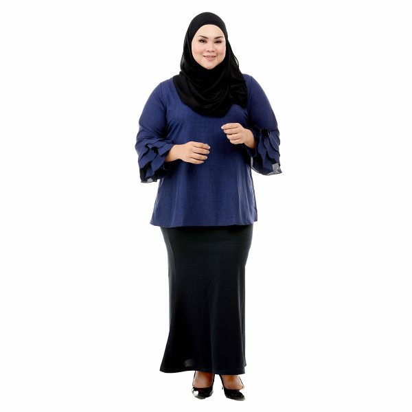 Leesa Blouse Denim Blue Color Front