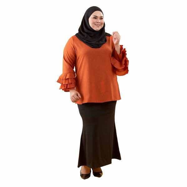 Leesa Blouse Pumpkin Orange Color Front
