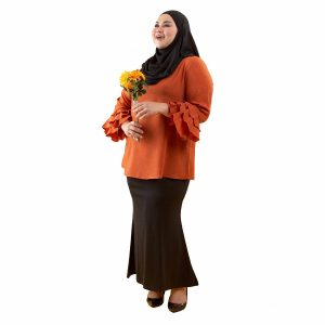 Leesa Blouse Pumpkin Orange Color Side