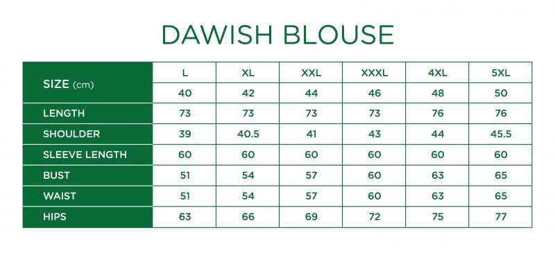 Rs Dawish Blouse Size Chart