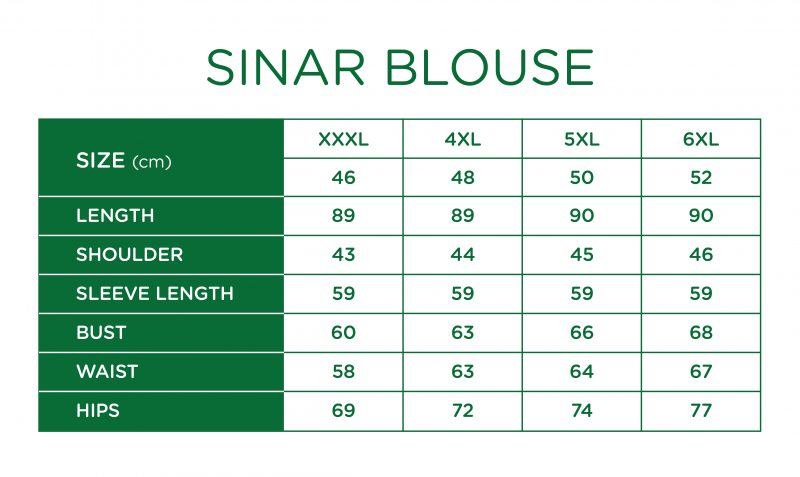 Rs Sinar Blouse Size Chart