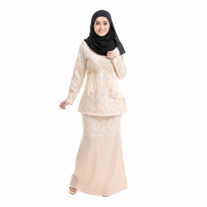 Salina Kurung Cream Front