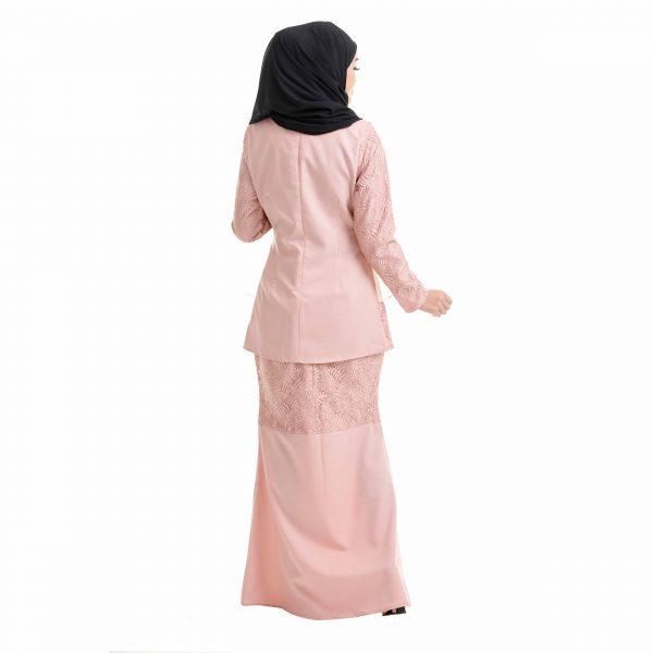 Salina Kurung Dusty Pink Back