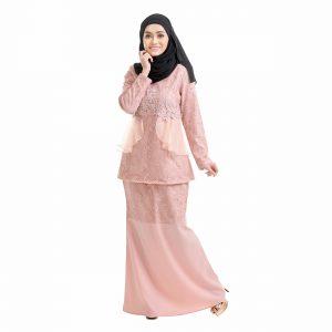 Salina Kurung Dusty Pink Front