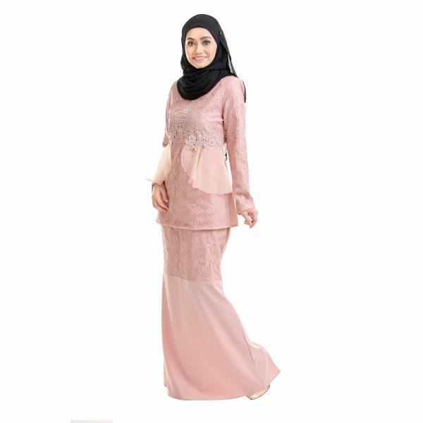 Salina Kurung Dusty Pink Left Side