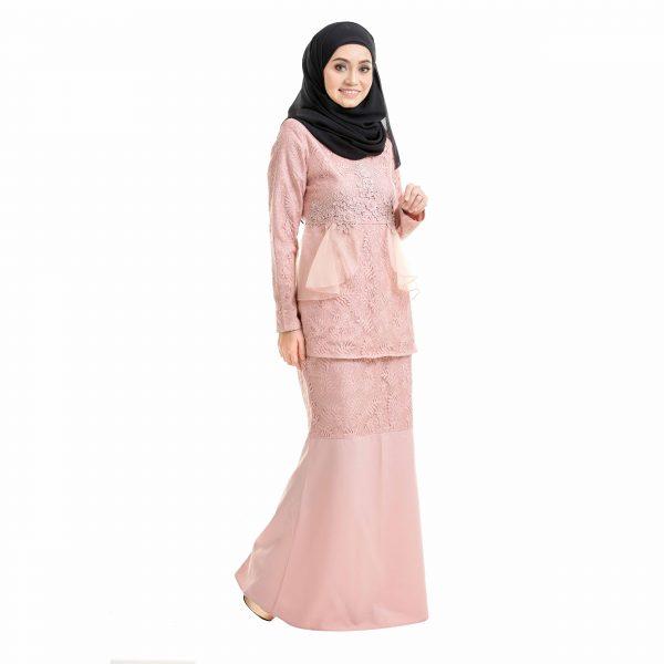 Salina Kurung Dusty Pink Right Side