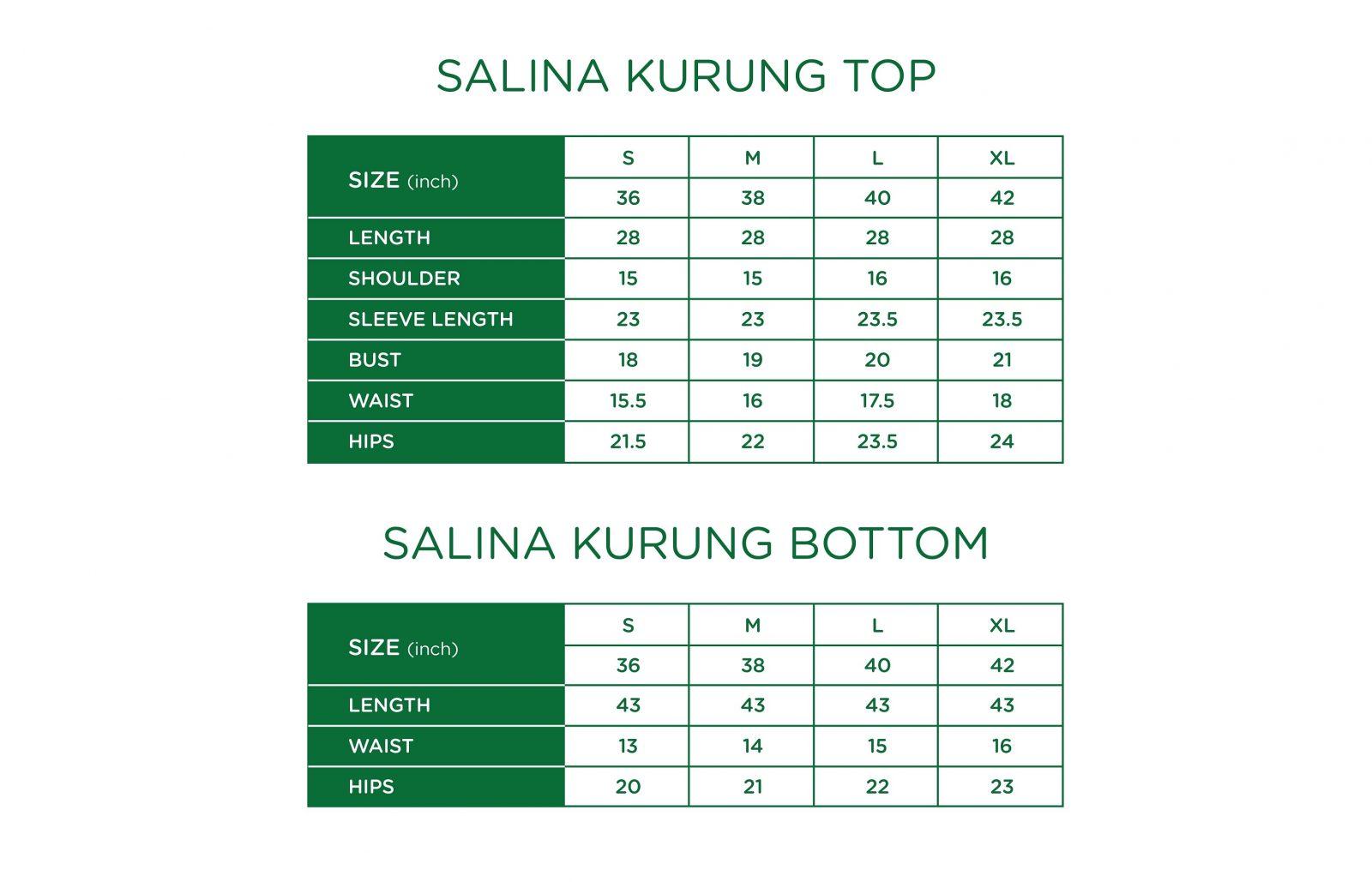 Salina Kurung Size Chart