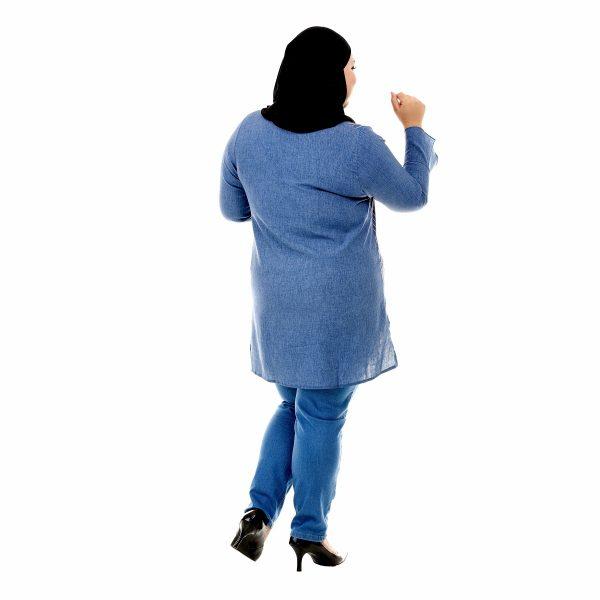 Sinar Blouse Denim Blue Color Back