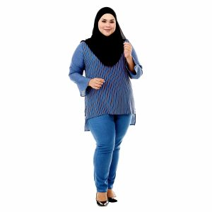 Sinar Blouse Denim Blue Color Front