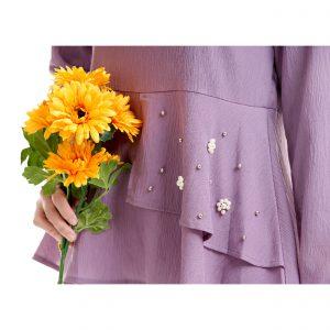Laila Blouse Mauve Purple With Flower