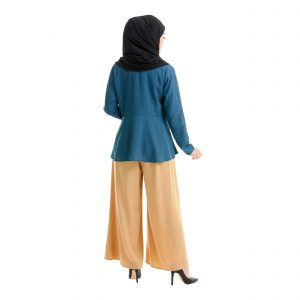 Laila Blouse Peacock Blue Back
