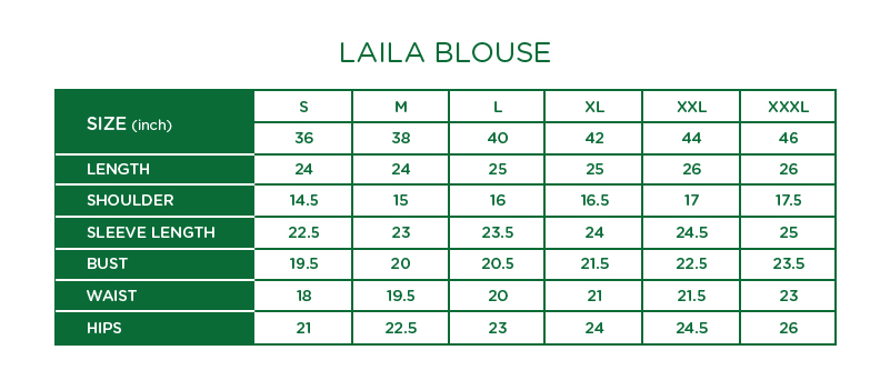Laila Blouse Size Chart