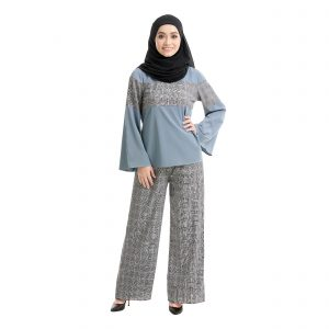 Maryam Check Blouse Cool Grey