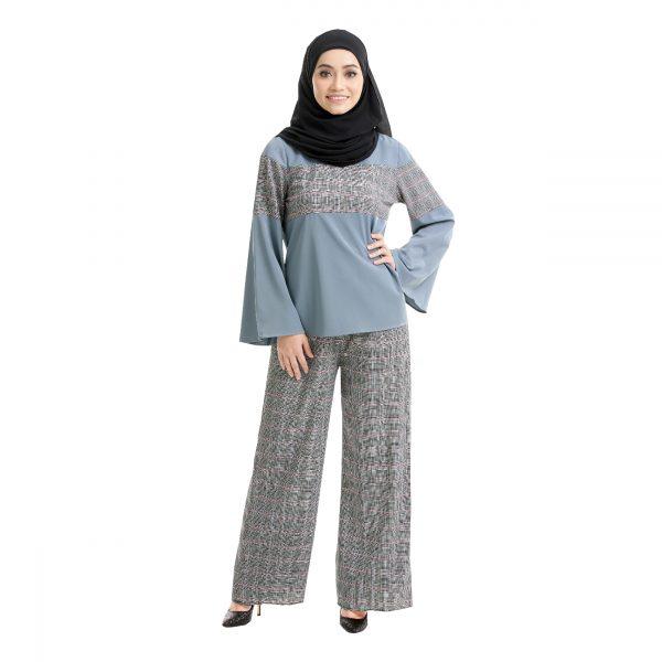 Maryam Check Blouse Cool Grey