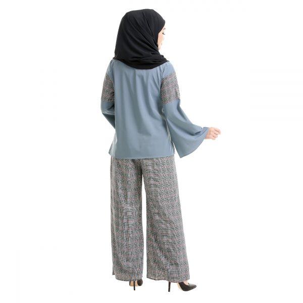 Maryam Check Blouse Cool Grey Back