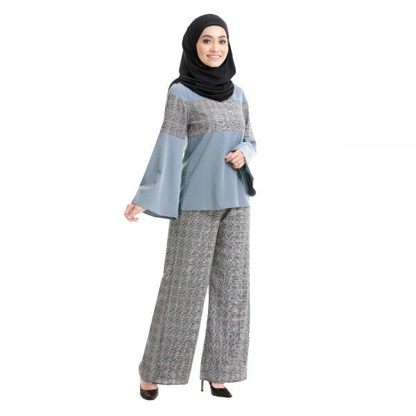 Maryam Check Blouse Cool Grey Side