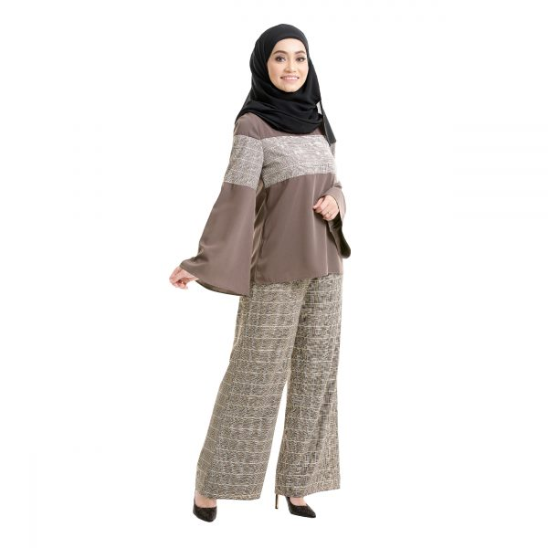 Maryam Check Blouse Dark Brown Right Side