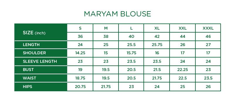 Maryam Check Blouse Size Chart