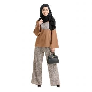 Maryam Check Blouse Tawny Brown