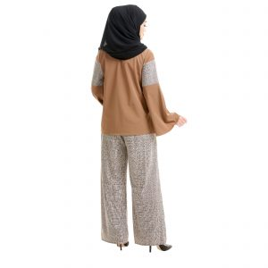 Maryam Check Blouse Tawny Brown Back